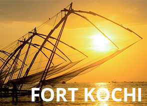 Sunset view of Chinese fishing nets at Fortkochi India