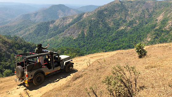 Jeep Safari in the summer Western Ghats hill range India