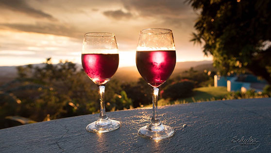 Romantic sunsets and wine overlooking the valley of San Jose