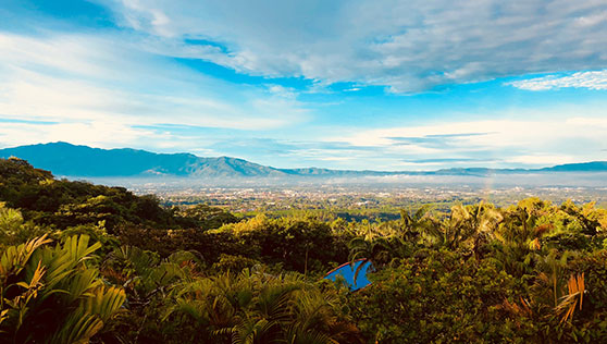 The beautiful landscape view from Xandari resort and spa Costa Rica