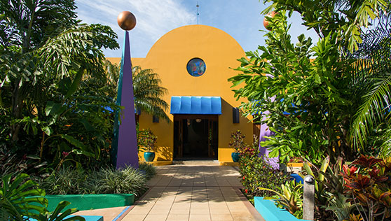 Unique sculptures and colorful buildings at Xandari resort and spa Costa Rica
