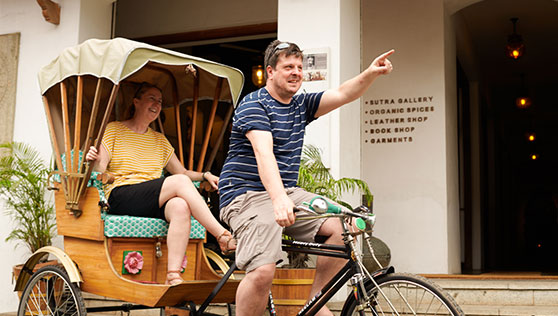 Fun with cycle rickshaw at Jew Town Fortkochi India