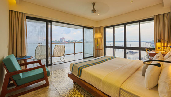 Rooms have waterfront balcony and large glass sliding doors