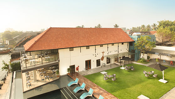 View of the restored spice market warehouse at Xandari Harbour Fortkochi