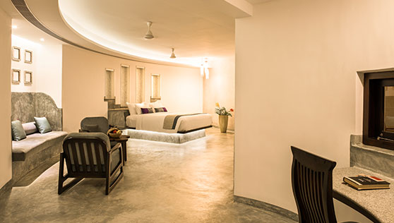 Large suite and cottage with pool at beach resort Kerala India