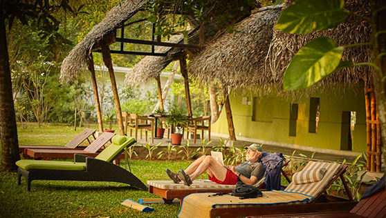Lounge on the lawns at Xandari Beach resort Kerala