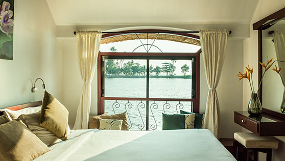 Bedroom in the houseboat Xandari Riverscapes Allepey Kerala